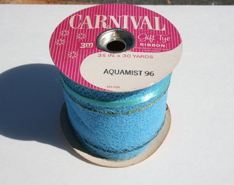 Vintage Blue Net Tulle Ribbon on Original Roll, Christmas Holiday Carnival Gift Tye Wrapping Wrap, Carousel Bow Aquamist, NOS, 30 yards