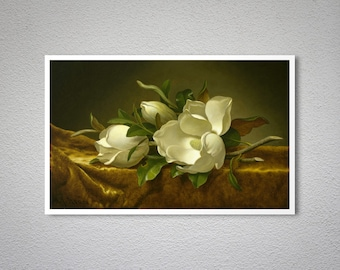 Magnolias on Gold Velvet Cloth by Martin Johnson Heade -  Poster Paper, Sticker or Canvas Print