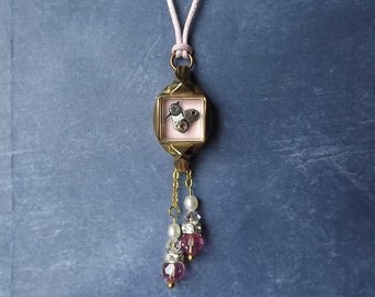 Tiny Bird pendant Swarovski crystals freshwater pearls #BB30