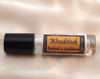 Woodstock fragrance for men, patchouli and sandalwood, gift for men, vegan, no alcohol, cruelty free, fragrance oil