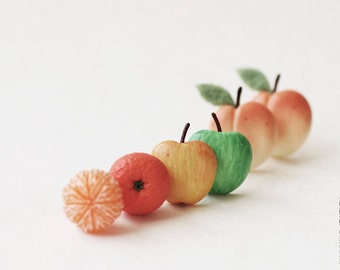 Juicy Fruit Earrings Post - Set of Earrings Post - Small Ear Studs - Food Jewelry - Vegan
