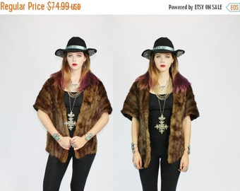HALLOWEEN SALE 20% OFF 1950s Mink Fur Chocolate Brown Wrap Around Stole