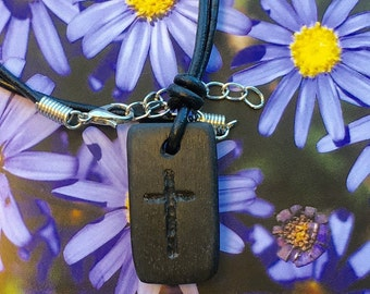 Irish Bog Oak with inscribed Cross