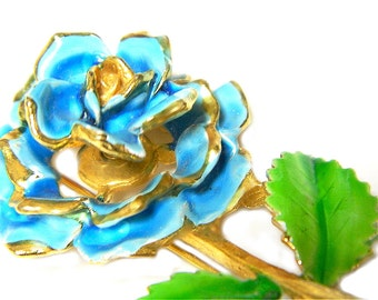 Blue Flower Trembler Brooch Enamel Mid Century Vintage Flower Pin Collectible Jewelry For Women Blue Summer Flower