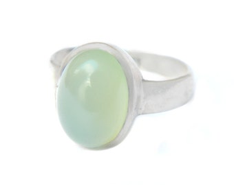 Light Green Tourmaline Sterling Ring Vintage Cabochon Tourmaline Modern Minimalist Solitaire Size 8 SALE Coupon Sparkle2017 For 15% Discount