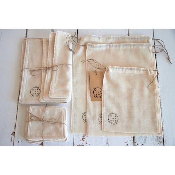 Pack découverte zéro déchets en coton bio sacs vrac+essuie tout+lingettes