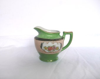 Vintage cream jug - Victorian cream jug - hand painted cream jug - green and black milk jug - floral jug with gold detailing