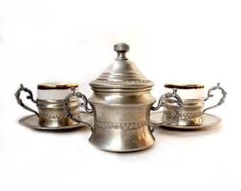 SALE Italian Espresso Coffee Serving Set ,Vintage Coffee Serving Set ,Italian espresso cups set,pewter retrò tableware,wedding gift