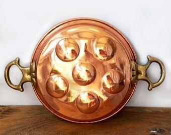SALE Vintage Italian copper pan, Copper escargot pan,Solid Copper Egg baking Mold pan,Kitchen Copper Decor,rustic kitchen pan
