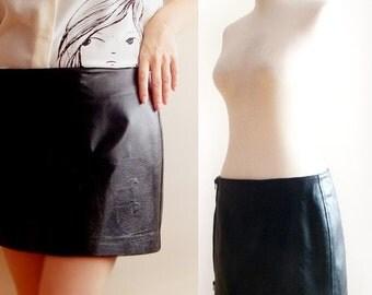 SALE Vintage leather skirt ,italian leather mini skirt , 90's black leather skirt , goth short leather skirt