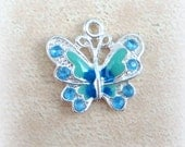 Butterfly Charms - Blue Enamel and Rhinestone Butterfly Charm - Silver and Blue Butterfly Charms - Qty. 4