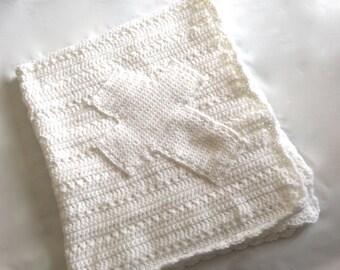White Christening Blanket with Cross Appliqué, blessing blanket, baptism blanklet