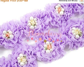 """July Sale 12% OFF 2"""" Fancy Shabby Rose Trim  - Lavender Color - Lavender Shabby Rose Trim -Chiffon Trim - Purple Shabby Rosettes- Hair Acces"""