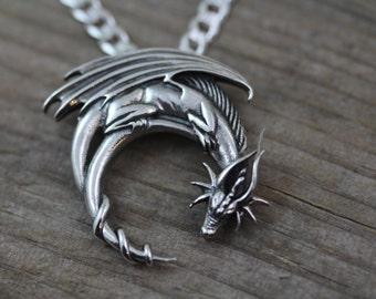 925 Sterling silver dragon necklace, Mens Necklace. Silver Dragon Pendant. Choose Italian Chain Men women. Dragon on moon. dragon Jewelry