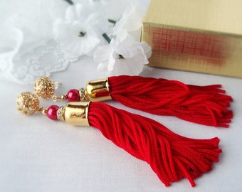 FREE SHIPPING Large Red Tassel Earrings, RedTassels with Gold Plated Bead Caps and Stud Posts