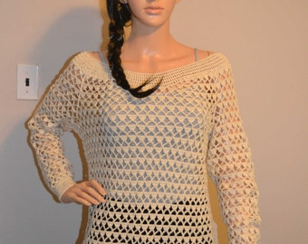 Warm Night /Beautiful Custom Made Cotton Size Hand Crocheted Sweater - Sizes 0 to 20