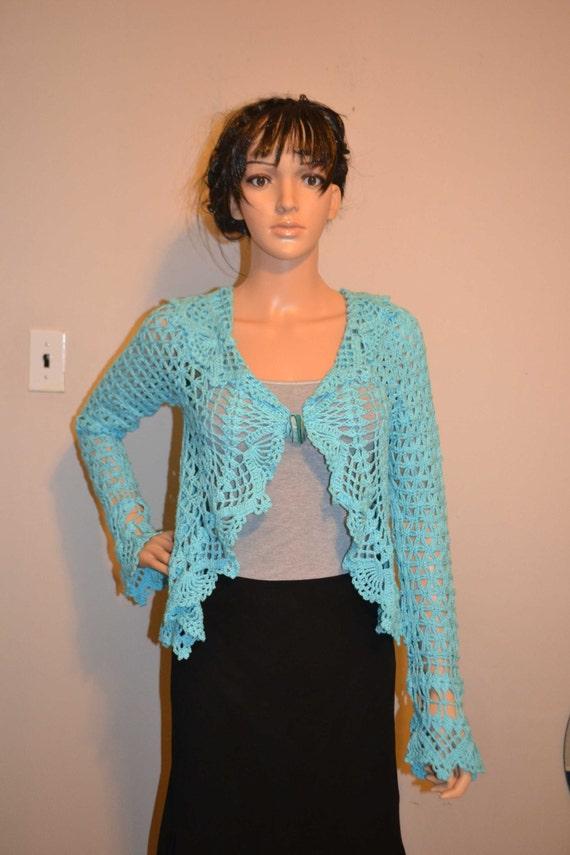 Deep Sea Waves / Custom Made Cotton /  Hand Crocheted Sweater - Sizes 0 to 20