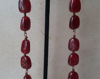 Super long burgandy earrings