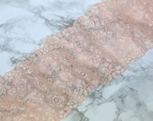 """1 Yard 5"""" Peach Double Scallop Galloon Stretch Lace 5"""" Wide Bra Making Bramaking Supplies Lingerie Sewing Elastic Lace"""