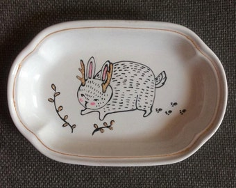 Illustrated Mythical Bunny Dish