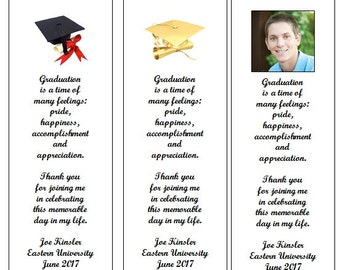 100 Personalized Graduation Photo Party Favor Bookmarks-College-High School