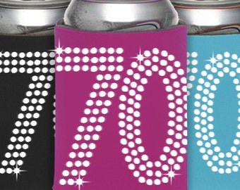 70th Birthday Can Cooler Party Favor -  70th Birthday, Birthday Party Favors, Can Cooler ,Birthday Idea, Party Favor, Beverage Holder,