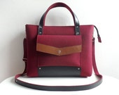 Cherry Brown Black Wool Felt Genuine Leather Handbag Bag