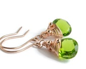 Green Quartz Earrings, Rose Gold Jewelry, Handmade, Bright Green Dangle