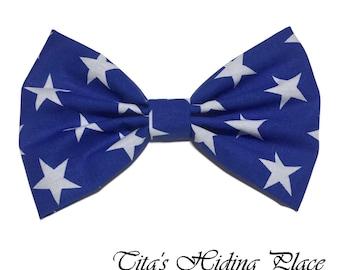 Royal Blue/ White Stars Hair Bow, Cotton Fabric Hair Bow, Girls Hair Bow, Handmade Fabric Hair Bow, Big Bow, Kawaii Bows, Baby Bow Clips