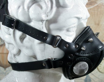 Steampunk altitude mask, aviator mask, black leather, respirator, studs