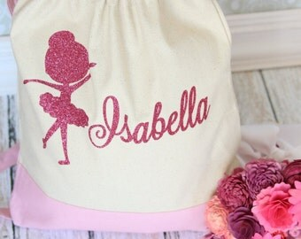 Custom Personalized Dance Pink Ballet Bag Backpack Style Bag Perfect for your budding Ballerina to take to ballet class or competition