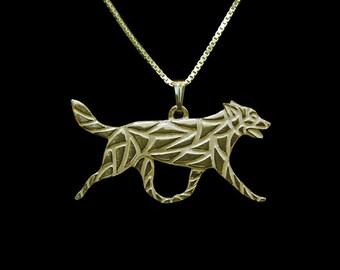 Australian Kelpie movement - Gold pendant and necklace