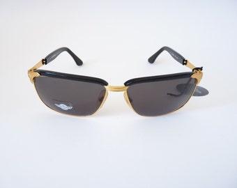 Daytona Safilo black browline vintage Italian sunglasses 1990s slim aviator style