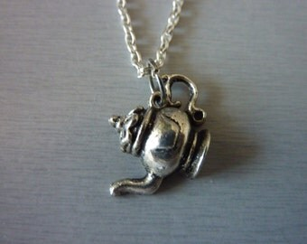 Alice in Wonderland Teaparty Teapot Necklace Fairytale Jewelry mad hatter Unique Jewelry
