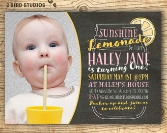 Pink lemonade invitation - 1st birthday invitation - Pink Lemonade Party Invitation - First birthday Chalkboard - you print summer invite