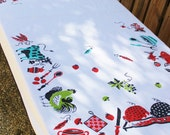 Rectangle Kitchen Cotton Tablecloth farm cow pig chicken fish fruit/vegetable folkart utensils