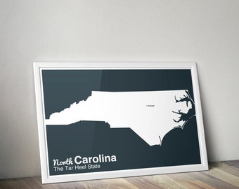 The Modern United States // Minimalist North Carolina Poster  // Giclée Quality State Pride Art Print
