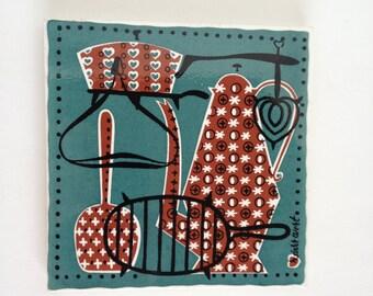 Mid Century Robert Darr Wert Trivet Ceramic Country Kitchen Decor Vintage Tile Collectable