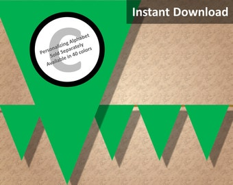 Green Solid Birthday Party Bunting Pennant Banner Instant Download, Party Decorations