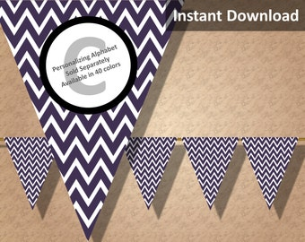 Dark Purple Chevron Bunting Pennant Banner Instant Download, Party Decorations