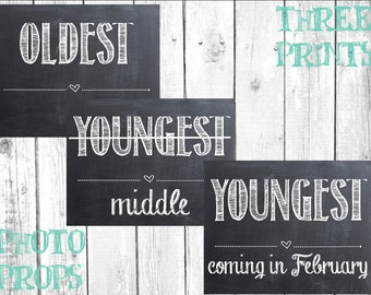 Pregnancy Announcement for Third Baby with Personalized Due Date...Photo Prop...3 Chalkboard Signs:  Oldest Middle Youngest Coming Soon