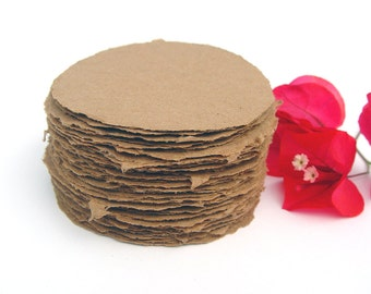 Brown kraft paper 3 inch circles, handmade paper, recycled, deckle edge, set of 10