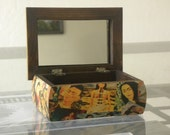 Handmade Decoupage Pinewood Frida Kahlo Naked By Diego Rivera Colash Portraits Jewelry Box With Mirror