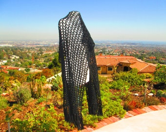 VINTAGE HAND MADE Knit Shawl- Large Black
