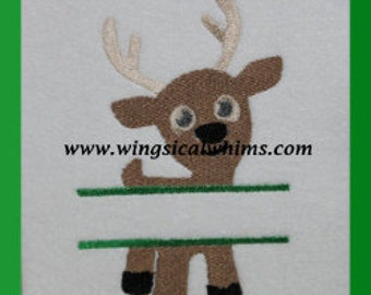 Reindeer Split Christmas Design Digitized Machine Embroidery File ONLY