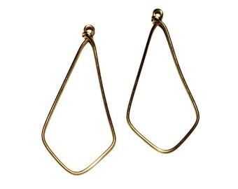 4 Brass Ear Wire, GEO Ear Wire, Hoops, Earring Drops, 52x24 mm