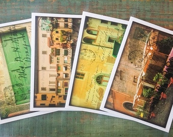 """Italy Notecards, Set of 4 cards, CLEARANCE, Italian cards, Italian postcard notecards, Photography cards, 4.25x5.5"""" eco-friendly, Set C"""