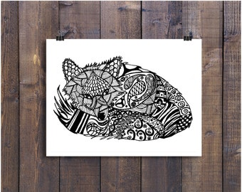 Fox Art, Fox Print, Black and White Art, Pen and Ink Animals, Pen and Ink Fox, Doodle Fox, Doodle Animals, Fox Drawing, Ink Fox, Ink Art