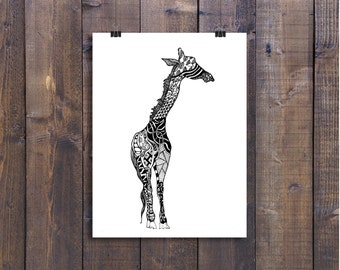 Giraffe Art, Giraffe Drawing, Pen and Ink Giraffe, Black and White Art, Animal Art, Doodle Art, Nursery Art, Poster Art, Safari Art, 12 x 18