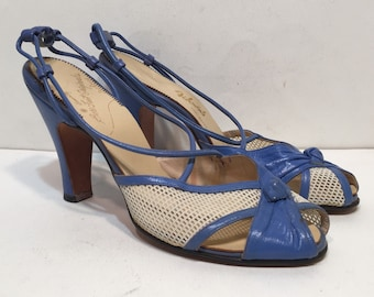 size 7 / 1940s light blue leather and mesh strappy high heeled sandals